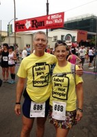 Shanen and her husband running in Jars shirt!