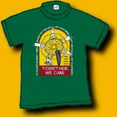 This is a 100% cotton hunter green tshirt with a dreamcatcher against a yellow background. Below the dreamcatcher against a brick red background are the words: Together we can!!    Original Dan Wilkin's design.     We have 1 adult small and 2 child medium left.